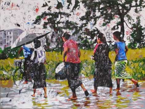 M San Myint: Walking in the Rain, 2014